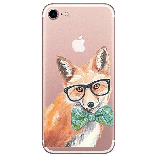 iPhone 7 Plus Hülle iPhone 8 Plus Hülle Caler Weiche flexible Silikon Handy Hülle Transparente Ultra Slim Gel TPU dünne stoßfeste Tasche Etui Schutzhülle(Fuchs)