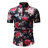 Jinyuan Camisa De Hombre De Moda De Verano Camisa Floral Delgada De Manga Corta Tendencia De Moda De Hombre Camisa Floral Hawaiana Casual De Hombre De Gran TamañO Negro 3XL