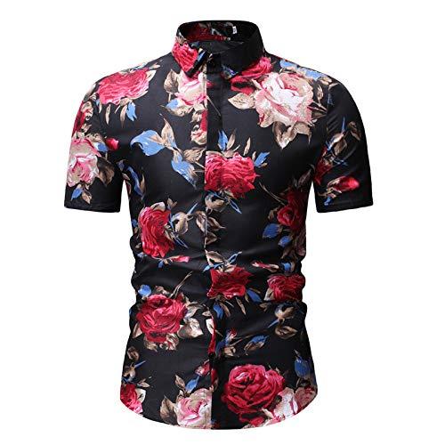 Jinyuan Camisa De Hombre De Moda De Verano Camisa Floral Delgada De Manga Corta Tendencia De Moda De Hombre Camisa Floral Hawaiana Casual De Hombre De Gran TamañO Negro L