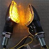Faros intermitentes laterales de fibra de carbono y bombillas LED para motocicleta