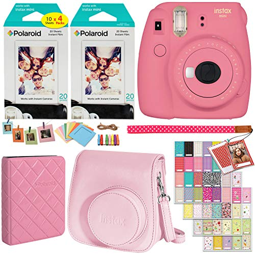 Fujifilm Instax Mini 9 Instant Camera (Flamingo Pink), 2 x Twin Pack Instant Film (40 Sheets), Camera Case, Photo Album, Square Photo Frames & Accessory Bundle