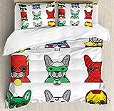 Juego de funda nórdica de superhéroe, Bulldog Superheroes Divertidos cachorros de dibujos animados disfrazados Perros con estampado, Juego de cama decorativo de 3 piezas con 2 fundas de almohada, blan
