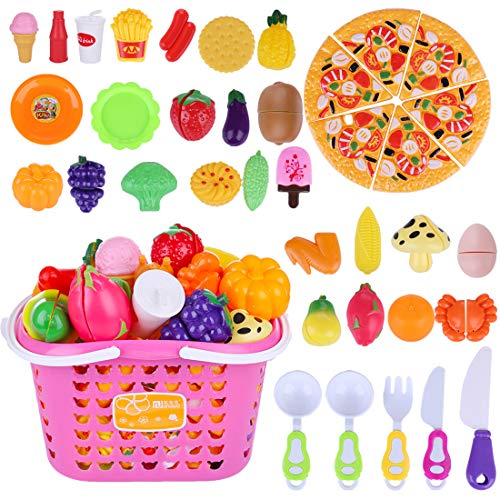 ColiCor 40piezas Alimentos de Juguete con Cesta,Comida Juguete,Magnético Frutas Juguete para Cortar...