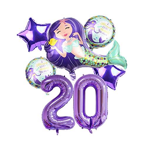 Globos Globos de lámina de sirpea púrpura roja con número de dígitos de 40 pulgadas Helio globo dibujos animados globos Decoraciones de fiesta de cumpleaños niños o adultos ( Farbe : Purple 20 )