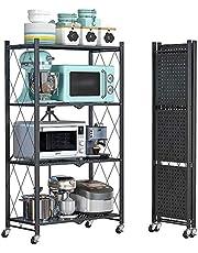 4 Shelf Foldable Storage Shelving Unit with Wheels, Metal Storage Rack Display Rack for Garage Kitchen Pantry Closet Laundry, Black (4-shelf)