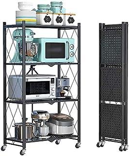 Leostar 4 Layer Shelf Foldable Storage Shelving Unit with Wheels, Metal Storage Rack Display Rack for Garage Kitchen Pantr...