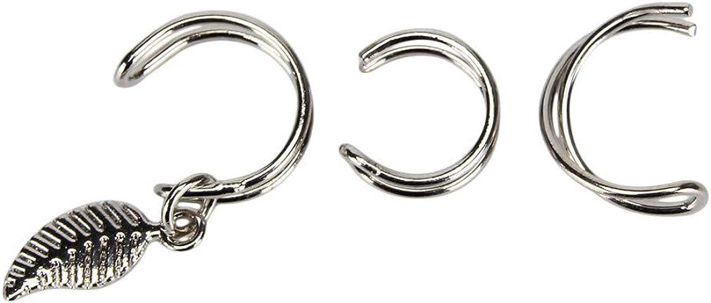 Timetries Ear Cuff Earring Charm Non Pierced Ear Cartilage Clip Earrings Sets For Women Girl,Three-Piece