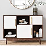Nathan James Ellipse Multipurpose Storage Cabinet with Display Shelves and Doors, Entryway Modern Buffet or Kitchen Sideboard with Glam Gold Brass Accent, TV Stand, Walnut Brown