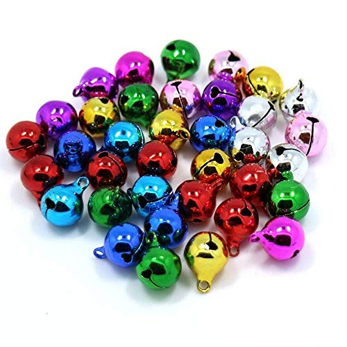 MyMagic 300pcs 8mm Bright Jewel Jingle Bells for Halloween Christmas Wedding Decoration or Craft Bells DIY Your own Garland & Gifts Craft, Jewellery Craft Making (Multicolored)