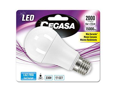 Cegasa Bombillas LED con Luz Fría 5000K E27, 15 W, Blanco, 120x60x62 cm