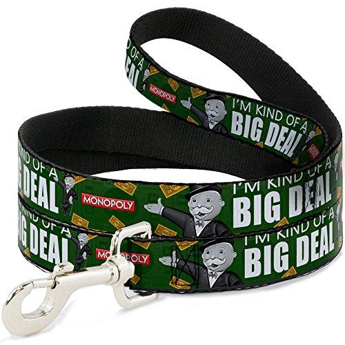 Buckle Down Hundeleine, Motiv Mr. Monopoly Leaning Pose I M Kind of A Big Deal/US-Dollar 500 Bills Greens/White