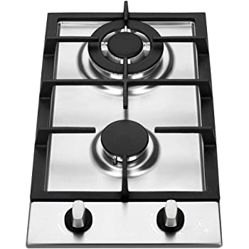 Amazon Com K H 2 Burner 12 Built In Lpg Propane Gas Stainless Steel Cast Iron Cooktop 2 Ssw Lpg Appliances