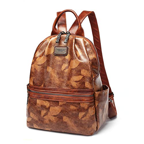 Small Backpack Purse for Women PU Leather Casual Travel Bags Fashion Ladies Shoulder Bag (Brown)