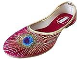 Kalra Creations Damen Schuhe, traditionelle indische Samt-Ballerinas, Rot - rot - Größe: 35.5 EU