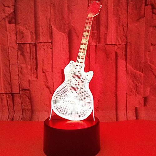 LLZGPZXYD 3D LED nachtlampje muziekinstrumenten gitaar met 7 kleuren licht voor huishoudtextiel lamp verbazingwekkende visualisatie optisch Touch.