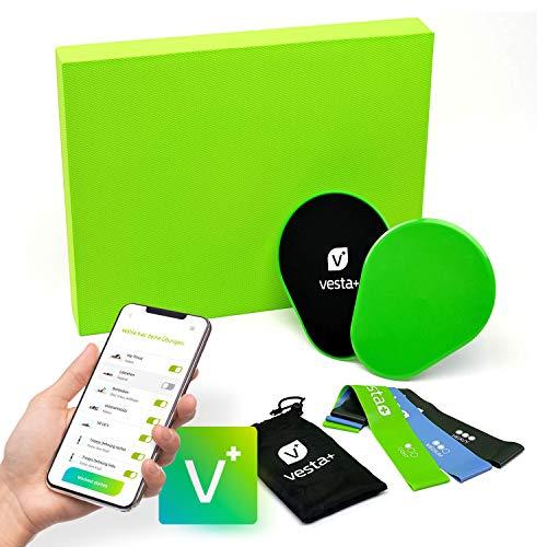 Vesta+ Balance Pad XXL Fitness APP + 3X Fitnessbänder + 2X Slider | Balancekissen Physiotherapie mit Balance Kissen | Balance Trainer mit Balance Pads als Wackelkissen
