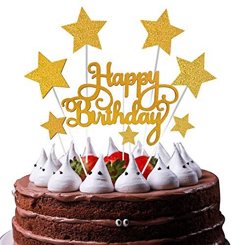 VAINECHAY Oro Stella compleanno Cake Topper,candeline compleanno particolari,Happy Birthday Cake Topper,Decorazione Torta di Compleanno,decorazioni torte