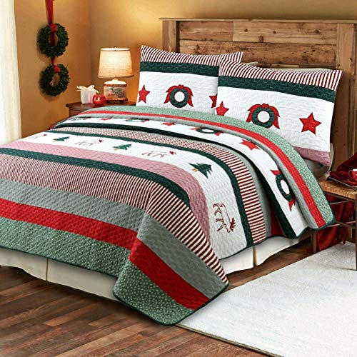 Cozy Line Home Fashions Christmas Rustic 3-Piece Quilt Bedding Set, Coverlet Bedspread (Rustic Christmas, King - 3 Piece)