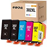 INKNI Remanufactured Ink Cartridge Replacement for Epson 302XL 302 XL T302XL Ink for Expression Premium XP-6000 XP-6100 (Black, Photo Black, Cyan, Magenta, Yellow, 5-Pack)