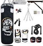ONEX 3ft Punch Bag Set Heavy Filled Boxing Training Punching Gloves Fighting Hanging 13pcs Bracket Chains set (Black)