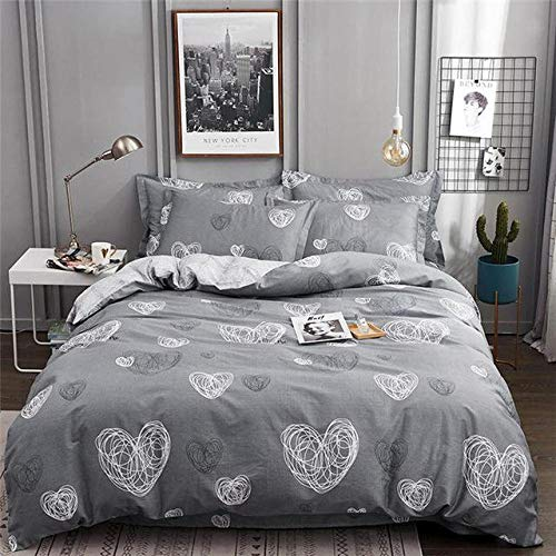 Hbvvaceo Duvet Cover Sets 3d Gray simple love Printing Bedding Set 100% Polyester Gift Duvet Cover 3 Pieces With 2 Pillowcases, Double 200 x 200 cm Children's bedding set-baby bedding set