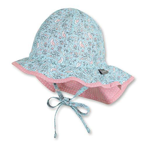 Sterntaler Flapper für Mädchen mit Bindebändern, Nackenschutz und Vogel-/Blumen-Motiv, Alter: 5-6 Monate, Größe: 43, Blau