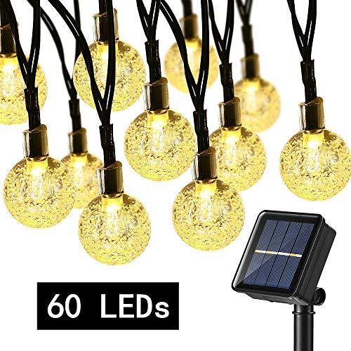 BrizLabs Solar Lichterkette Aussen 60 LED Warmweiß Kristall Kugeln Lichterkette 13.8M 8 Modi Wasserdicht Solarbetriebene Weihnachtsbeleuchtung Innen für Garten Terrasse Bäume Hof Haus Partys