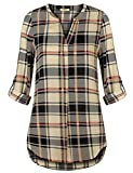 Timeson Tops for Plus Size Women Blouses for Women, Women's V Neck Chiffon Blouses for Work Casual Dressy Plaid Spring Tunic Shirt Professional Office Blouse for Leggings Beige Large