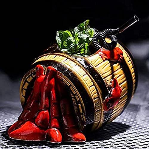 Tiki Tazas para cócteles, de cerámica hawaiana para fiestas, vasos exóticos, copas de coctel Tiki Bar profesional hawaiano para fiestas, barware-(570 ml)