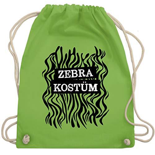 Shirtracer Karneval & Fasching - Zebra Kostüm Fellmuster - Unisize - Hellgrün - Geschenk - WM110 - Turnbeutel und Stoffbeutel aus Baumwolle