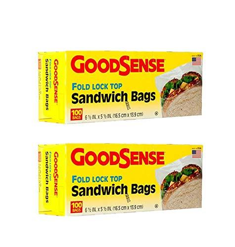 Fold Lock Top Sandwich Bags 2 Boxes 100 Bags in Each & by Good Sense