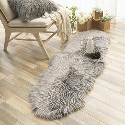Ashler Faux Fur Rug Soft Faux Peacock Fluffy Rugs Luxurious Carpet Rugs Area Rug for Bedroom, Living Room Carpet Grey- 2 x 6 Feet
