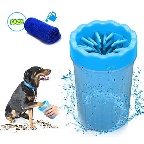 Focuspet Hunde Pfote Reiniger, 10x10x15 cm Pfotenreiniger Tragbarer Pet Reinigung Pinsel Tasse Hundepfote Reiniger Fuß Reinigungsbürste Fuß Waschen Tasse Für Hunde Katzen u. Andere Haustiere Blau