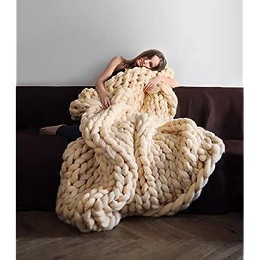 eacho Chunky Knit Blanket Handmade by Soft Knitting Throw Bed Bedroom Decor Bulky Sofa Pet Mat, Creamy Yellow, 40  x 79