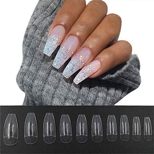 AGUTIUN 500PCS Coffin False Nails Half Cover Press On Nails Ballerina Nail Tips False Artificial Acrylic Nails (Clear)