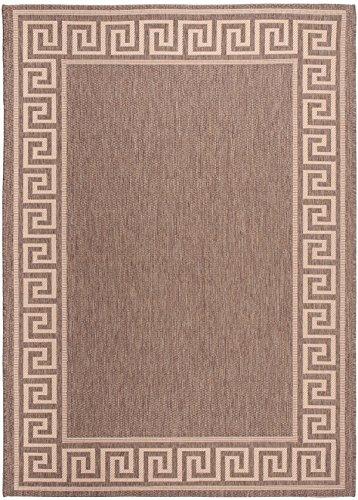 Carpeto Sisal Teppich Beige 160 x 230 cm Bordüre Muster Flachgewebe Sisal Kollektion