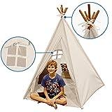 EasyGoProducts Indoor Teepee Tent, Kids Classic Indian Play Tent & Carry Bag, Walls with Door, Window & Floor, 5 Poles, 62'' Tall