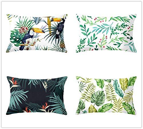 ZYFSKR 4 Piezas Fundas Cojin Decorativas Fundas Cojines Funda De Almohada De Hojas Verdes Tropicales Frescas para Sofa Jardin Cama Decorativo 30X50Cm