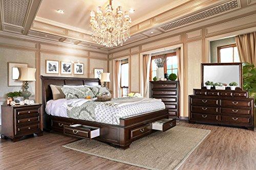 Esofastore Brandt Brown Cherry Bedroom Furniture 4pc Set Queen Size Bed...