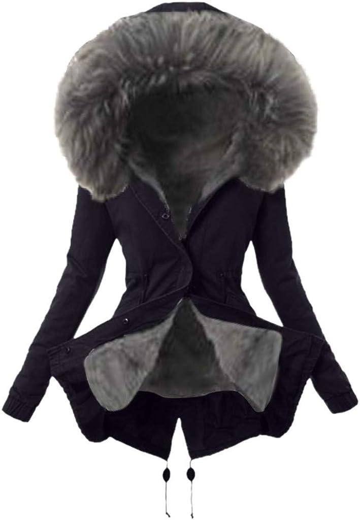 Joyionier Ladies Fur Lining Coat Womens Winter Warm Thick Long Jacket Hooded Overcoat Warm Casual Women Top