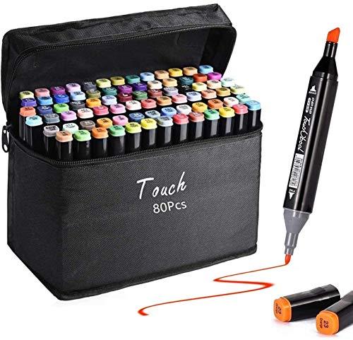 80 Far Graffiti Stift Fettige Mark Far Marker Set für Sketch Marker Stifte Set Mit, Twin TiTextmarker, Metallic Marker Pens(Schwarze Muschel)