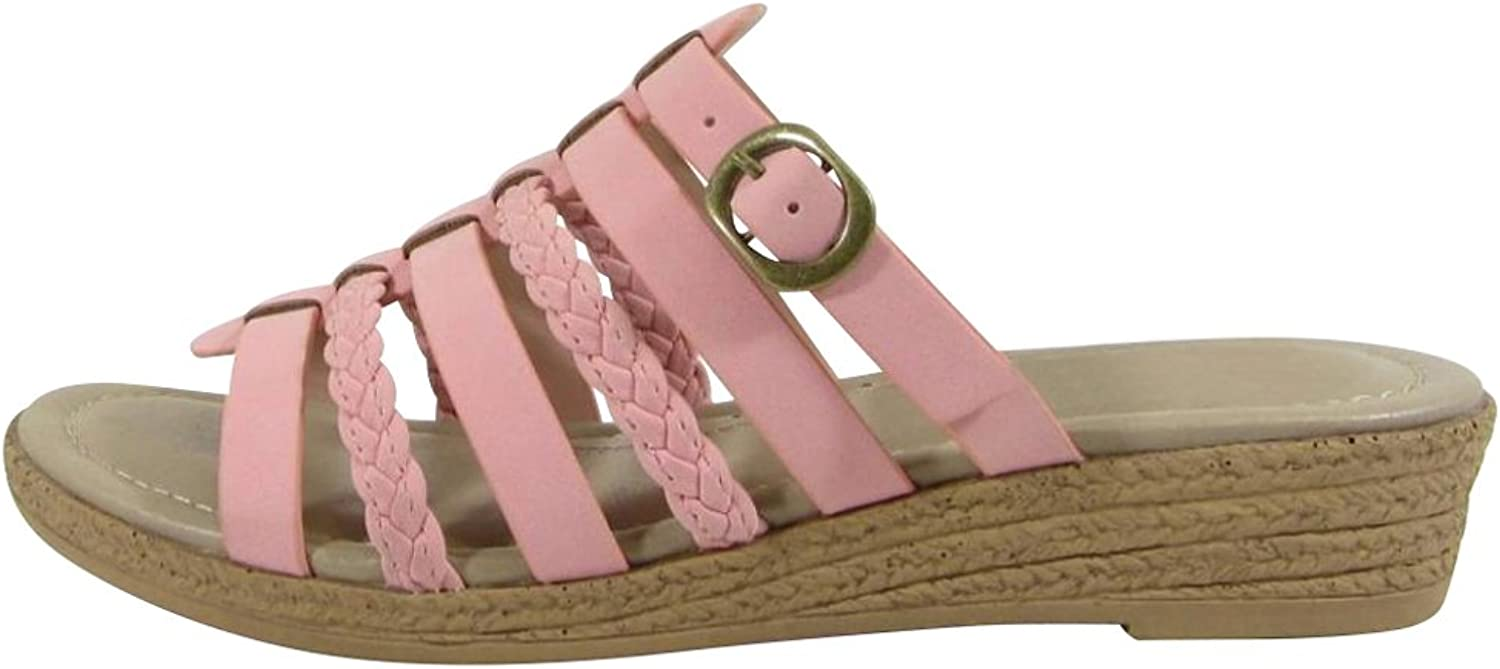 Cambridge Select Women's Braided Strappy Buckle Slip-On Comfort Slide Low Wedge Sandal