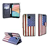 Nexus 6 Case, CoverON (Carryall) Pouch Series PU Leather Magnetic Flip Design Wallet Case with Credit Card Slots and Cash Pocket for Motorola Google Nexus 6 - USA American Flag