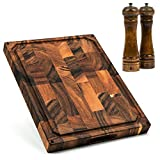 Smirly Butcher Block Cutting Board: Large Wood Cutting Board for Kitchen, Large Wooden Cutting Board, Extra Large Cutting Board Wood Chopping Block, Walnut Cutting Board Large, End Grain Cutting Board