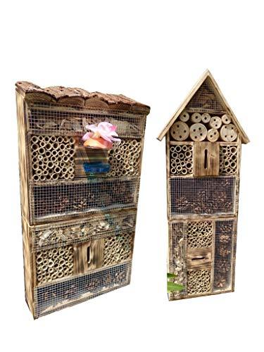ÖLBAUM 2 x XXL insektenhotels, Spitzdach groß + Flachdach hohe Form Bienenhaus mit 2X Standfuß UND TRÄNKE insektenhotel geflammt gebrannt schwarz, Natur-HOLZFARBEN