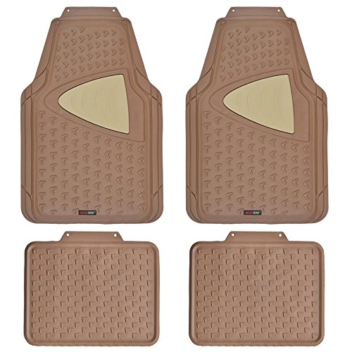 Motor Trend MT644GRAMw1 Gray Eco-Clean Car Rubber Floor Mats-100% Odorless, 2 Tone Color, Trimmable Fit, 4 Piece Set