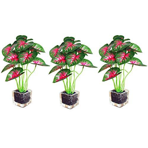 Liamostee 3 stuks Cafe levensechte decoratie glazen pan mini K ¨1nstlichen Plant Home Office