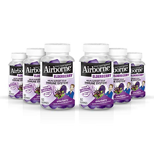 Elderberry + Vitamins & Zinc Gummies, Airborne (60ct), Gluten-Free Immune Support Supplement with Vitamins C, D & E T (Pack of 6)