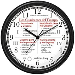 Habit 3 - Time Management Matrix or Quadrants (Spanish Text) - Wall Clock from THE 7 HABITS - CLOCK COLLECTION by WatchBuddy Timepieces (White Frame)