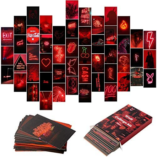 YINGENIVA 50PCS Red Neon Aesthetic Pictures Wall Collage Kit Neon Red Photos Collections Collage product image